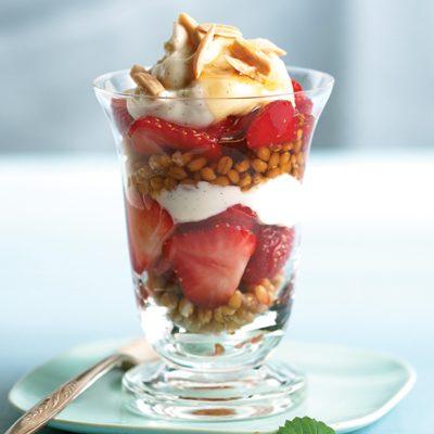 Strawberry Breakfast Parfait with Wheat Berries