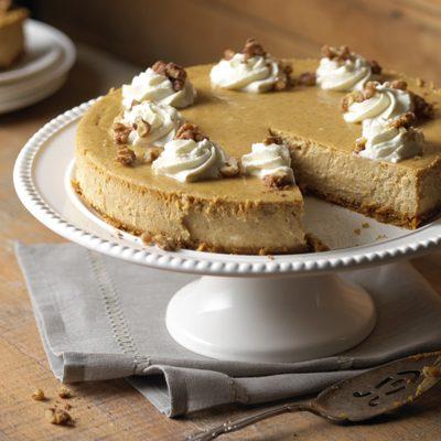 Pumpkin Cheesecake with Maple Glazed Walnuts