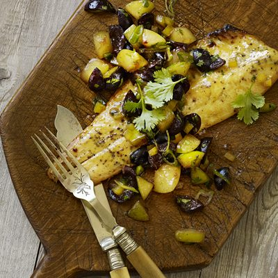 Trout With Plum and Cherry Salsa