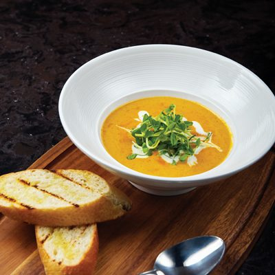 Moroccan Carrot Soup with Compressed Yogurt