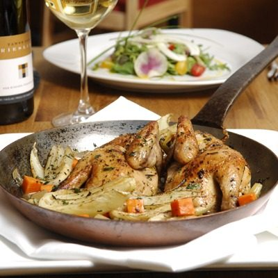 Braised Fennel and Cornish Hen in a Riesling Jus