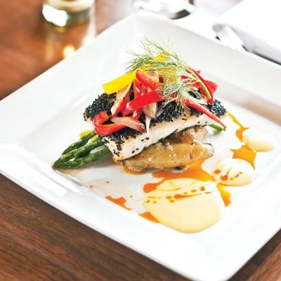 Black Sesame Crusted Halibut with Brandy Coated Pineapple and Passion Fruit Reduction