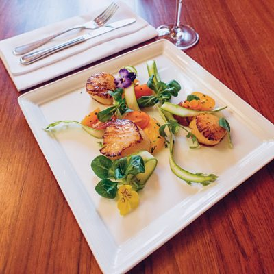 Seared Scallop, Heirloom Tomato & Local Asparagus Salad with Summer Herb Vinaigrette