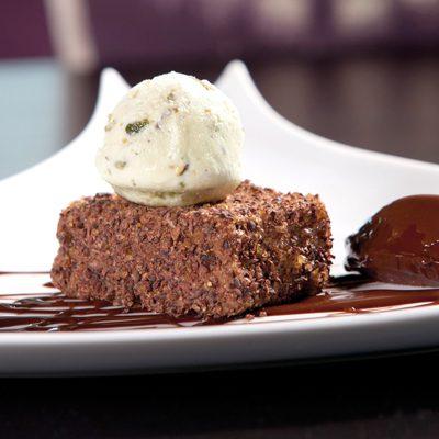 Cocoa-Nib Crusted Milk Chocolate Cheesecake