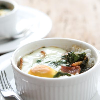 Southern-Style Baked Eggs with Grits & Collard Greens
