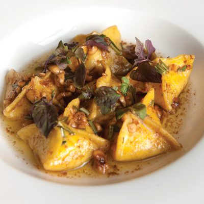 Butternut Squash Pacchetti with Brown Butter, Hazelnuts & Savoury