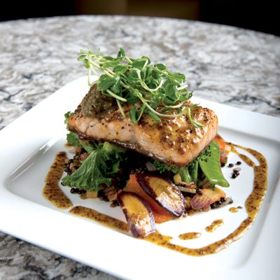 Grilled Salmon with Lentil Succotash