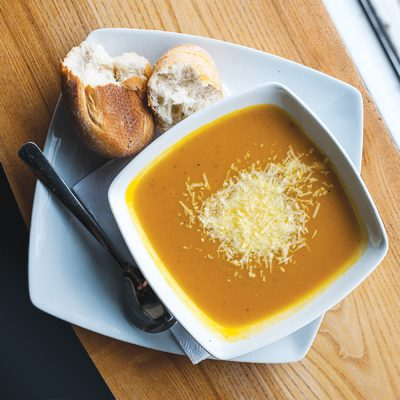 Butternut Squash Soup with Sage, Almonds and Parmesan